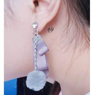2018 women fashion sweet cute grey circle ball stud earrings