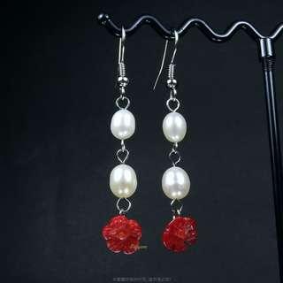 🚚 珍珠林~所剩無幾.賠售出清.阿卡玫瑰花珊瑚珍珠耳環.針夾式任選#482