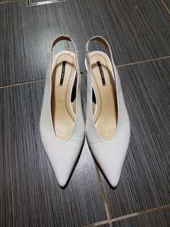 Zara white leather slingback point toe