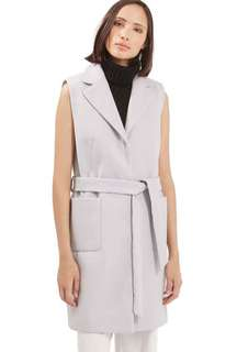 Topshop grey belted sleeveless coat 8