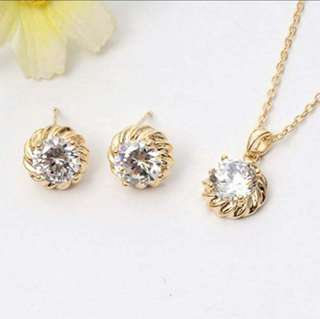 Gold Necklace and Earrings Jewelry Set