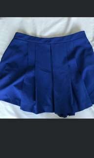 F21 blue pleated skirt