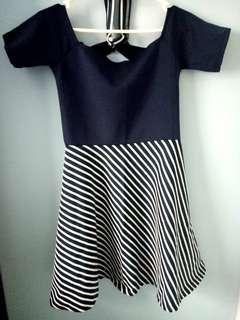Navy Blue stripes dress