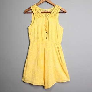 |私物| Roxy檸檬黃鏤空鉤織洋裝