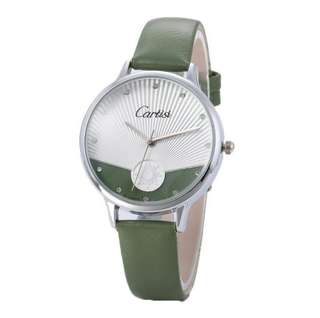 Cartisi Olive Leather Strap Watch