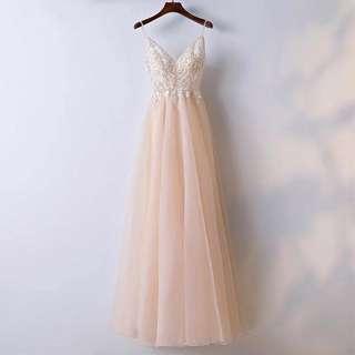 Elegant Peach Princess Evening Dress