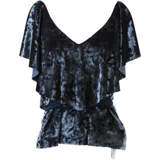Zara Blue Cold Shoulder Blouse