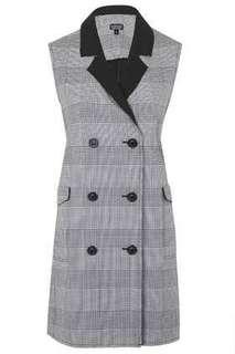 Topshop check Sleeveless coat grey