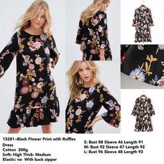 FREE ONGKIR Tunik/Dress Hitam Akses Lipitan Motif Bunga & Burung