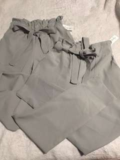 Casual high wasted pants with belt grey
