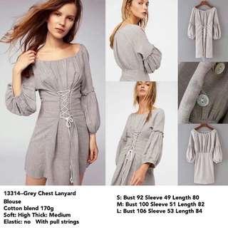 FREE ONGKIR Dress Abu2 Polos Aksen Tali Dada