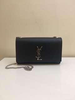 YSL medium kate bag. Navy/Silver HW