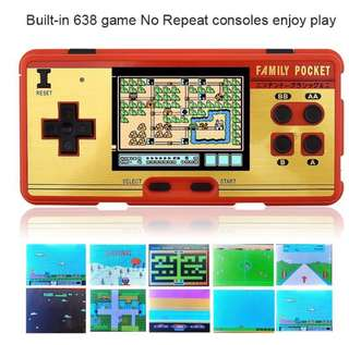 ▶️638 Classic Games Handheld Portable Retro Game Console - Free AV Cable & Waterproof Bag (Red / Wine Red)