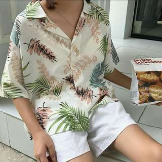 [INSTOCK] Tropical Leaves Button Down Top