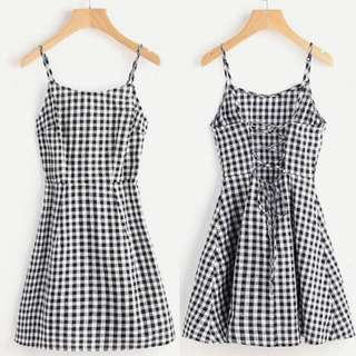 Gingham cami dress (thin fabric)