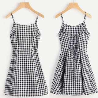 Gingham cami dress (thin fabric)