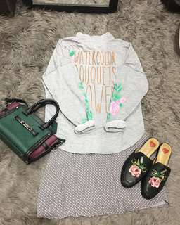 F21 little grey polkadot mix lace dress + floral grey sweater