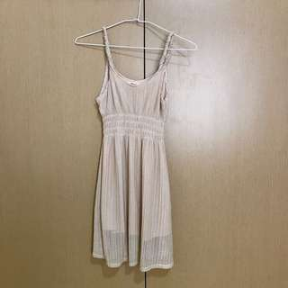 🚚 韓國製 米色螺旋肩帶洋裝
