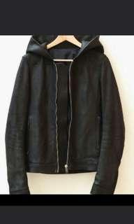 🚚 Rick Owens Leather Jacket Hoodie Calf Black Size 46