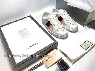 (价格私询)GUCCI # 蜜蜂五角星刺绣款小白鞋