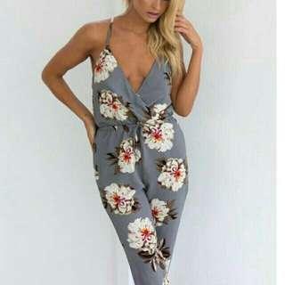 Grey Floral Jumpsuit