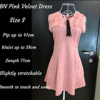 BN Pink Velvet Dress