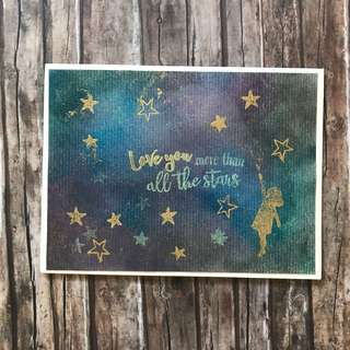 Glow in the dark card - love you more than all the stars