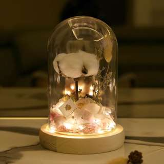 Cotton Flower Bell Jar with Fairy Lights