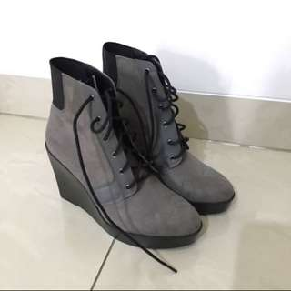 ZARA TRF Wedge Ankle Boots