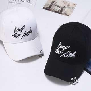 """Keep the faith"" black / white unisex caps (READY STOCK)"