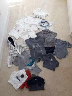Selection 3-6 month babygros, rompers, shorts & tops, 1 x cardigan