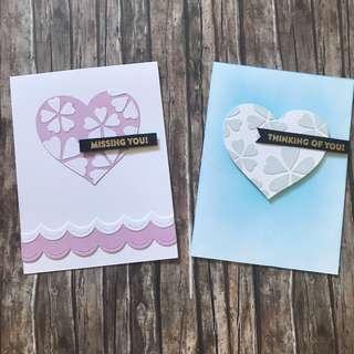 Handmade cards - floral heart