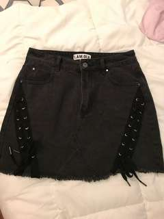 I.am.Gia lace up denim skirt size S