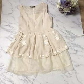 Japan Brand Nude / Beige Colour One Piece Dress with Tulle
