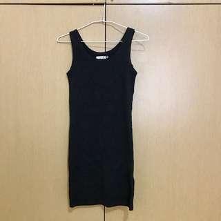 🚚 韓國製🇰🇷深灰色長版貼身上衣/洋裝