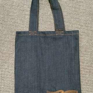 men's women's NUDIE JEANS CO raw denim tote side bag $120