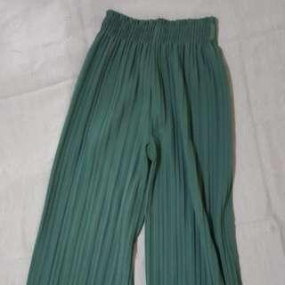🚚 深綠百褶寬褲