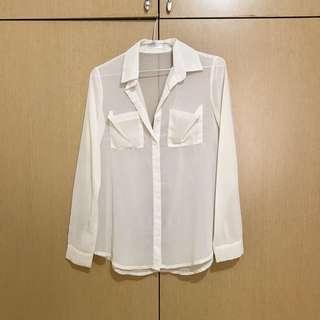 🚚 韓國製🇰🇷淺米色雪紡上衣
