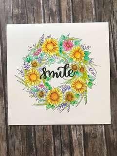 Flower wreath card