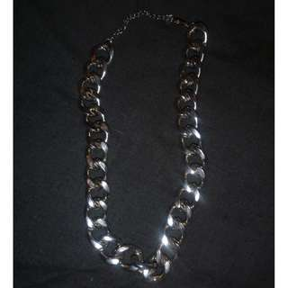 Thick silver choker chain necklace