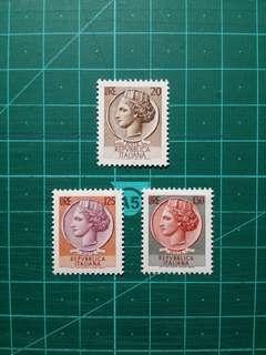 [均一價$10]1968-74 意大利 敘拉古硬幣通用票 新票三枚