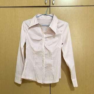 🚚 淺粉色直條紋襯衫