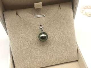 Sales!!11.1mm Tahitian pearl 18k dia pendant