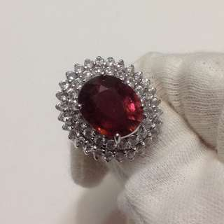 6.5 carat Pink Tourmaline Ring in 925 Sterling Silver