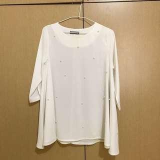 🚚 白色雪紡珍珠上衣 (附綁帶)
