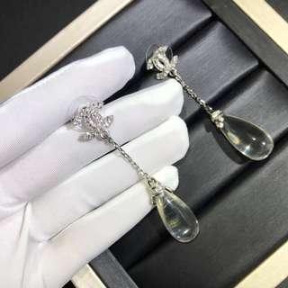 Chanel透明水滴珠耳環