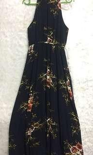 Floral navy blue haltered dress