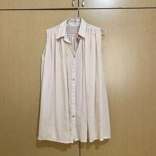 🚚 米色長版無袖雪紡上衣