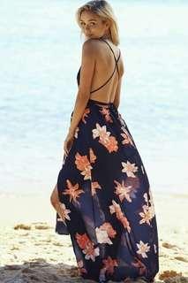 Summer beach maxi dress; f@