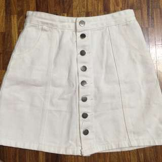 bangkok white denim skirt
